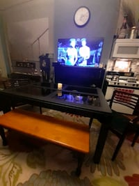 Black Glass Top Table with 2 chairs and bench