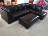 Dark brown leather sectional sofa and Ottoman Huntley, 60142