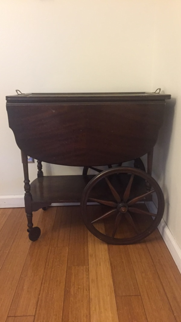 Antique Imperial Tea Cart With Wagon Wheels Drop Leaf And Removable Glass Tray