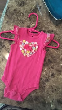 Girls pink floral onesie cute back button