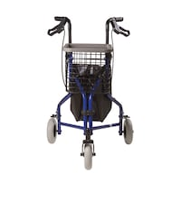 3 Wheel Rollator with Basket, and Pouch -Blue Alexandria, 22314