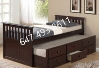 Brand new solid wood captains bed comes with 3 drawers and a trundle as an extra single bed TORONTO