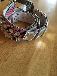 pink and black leather silver studded belt Fort Myers, 33901