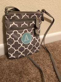 """""""A"""" Gray and White crossbody  Overland Park, 66210"""