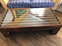 rectangular brown wooden coffee table Beverly Hills