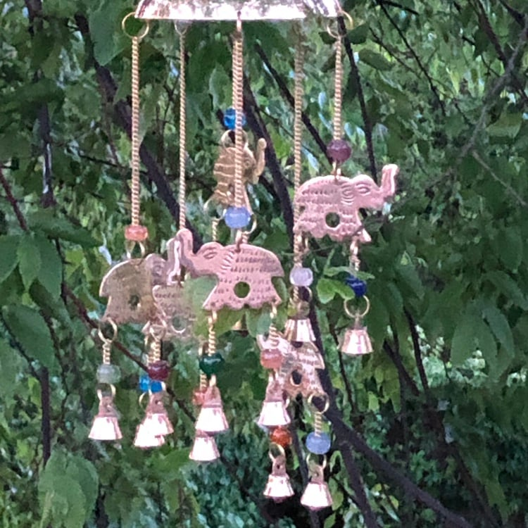 Elephant Dome Wind Chime Sun Catcher Chakra Colored Beads and Bells