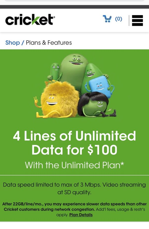 4 lines of unlimited data $100   Cricket Wireless 1106 Ohio ave Lynn Haven  Florida 32444
