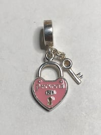 Sterling Silver Pink Lock and Key dangle Charm Springwater, L0L 1X0