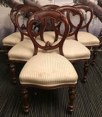 Six Antique Solid Mahogany Upholstered Victorian Balloon Back Chairs