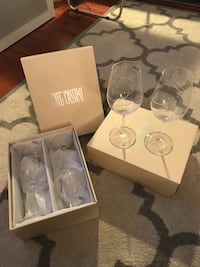 Oleg Cassini 4 crystal decorated wine glasses in boxes!! Los Angeles, 90025