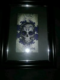 Purple skull picture in frame