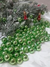 Glass green Christmas balls t Reading, 19601