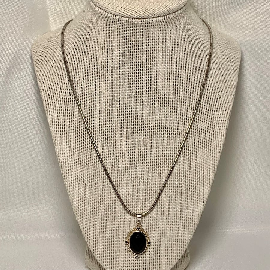 Antique Sterling Silver Black Onyx Pendant with Sterling Rope Chain e7eb0870-774c-4c46-8b34-fcdb59fe7926