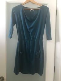 Anthropologie teal cotton stretch dress ~ size large ~ retailed $150+