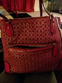 brown and red monogram Coach leather hobo bag Raymore, 64083