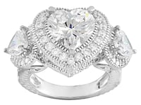 BELLA LUCE (R) 9.19CTW HEART SHAPE AND ROUND RHODIUM OVER STERLING SILVER RING - BJJ449R Size8 Stanley