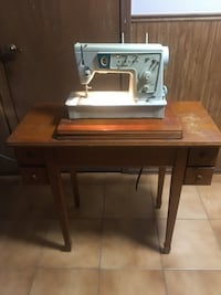 Vintage Sewing Machine & Table
