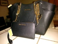 Black leather 2-way bag and wallet Long Beach