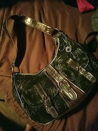 black and green leather shoulder bag Kathleen, 31047