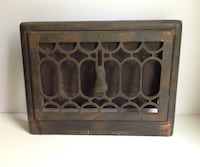 Antique Metal Heat Register Wall-Mounted Vent Grate, Early 1900s, Ornate Markham, L3P 3L6