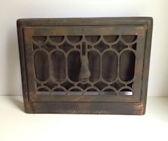 Antique Metal Heat Register Wall-Mounted Vent Grate Early 1900s Ornate