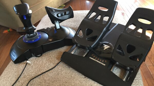 THRUSTMASTER foot/rudder pedals with THRUSTMASTER joystick and thrust  controls NEW