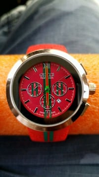 round silver chronograph watch with red strap Hamilton, L8T 4S9