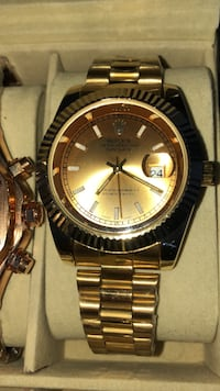 round gold-colored Rolex analog watch with link bracelet Brampton, L6T 4A2