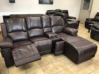 Air Leather sectional with a side recliner  Guelph, N1K 1A8