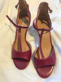 pair of brown leather open toe ankle strap heels Mississauga, L5R 3Z6