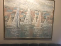 Brown wooden framed painting of boats Colorado Springs, 80920