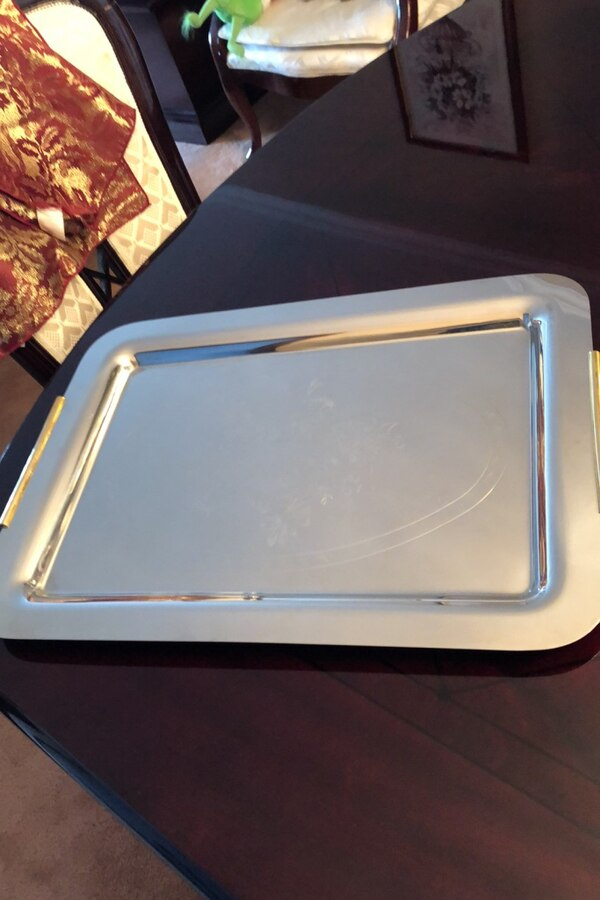 Stainless steel tray with gold handles e36d3365-089c-414a-b306-333001e3e2ab