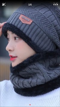 Women's gray and black knitted scarf set Chicago, 60638