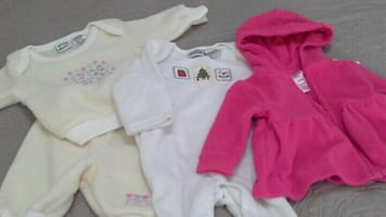 baby's assorted-color clothes lot.