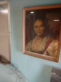 woman in white dress painting with brown wooden frame Golden Valley, 55427