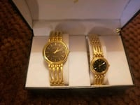 two round gold-colored analog watches with link bracelets Surrey, V3T 3Y4