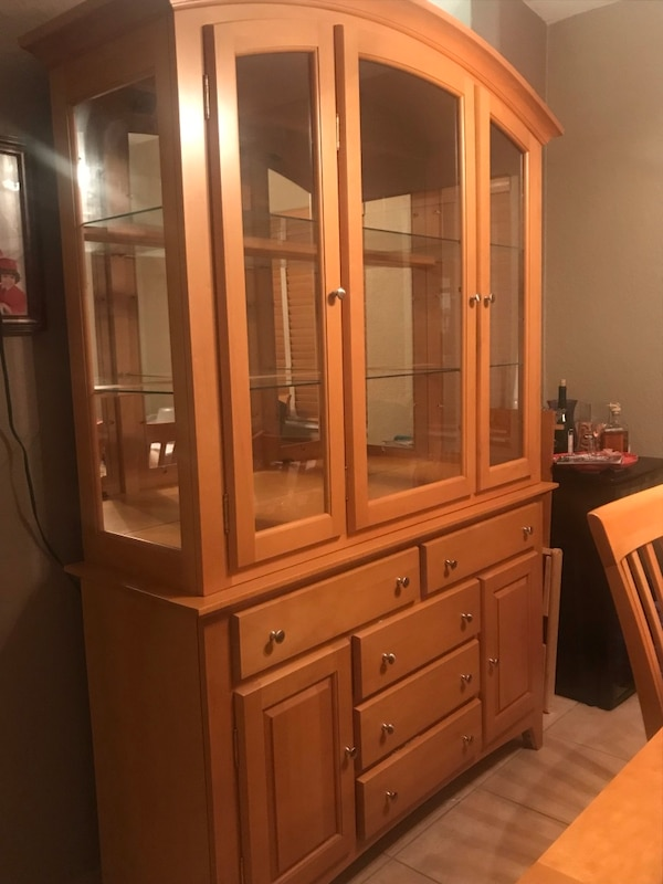 Wooden China Cabinet With Light And Dining Room Set 6 Chairs