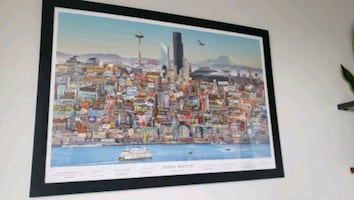 Framed Iconic Seattle Poster 38Wx26H