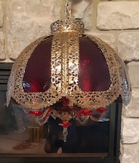 Vintage Caneurop Cranberry Glass Shade Brass Chandelier Hanging Electric Lamp