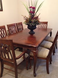 rectangular brown wooden table with six chairs dining set Shreveport, 71105