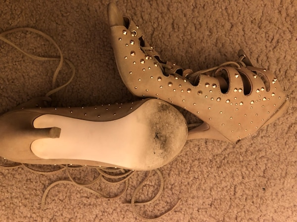 Tan ankle strap heels with gold studs  c1bb3952-dd20-4555-a8df-319230ac858f