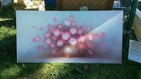 pink-and-white petaled flowers painting