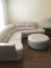 Off-White Soft Italian Leather Sectional Sofa with ottoman New Port Richey, 34655