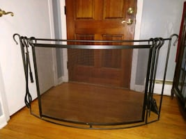 Fireplace Screen, Wrought Iron with fireplace tools