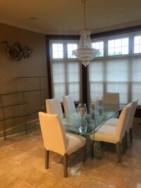 Custom 8 foot glass dining table 6 white chairs and matching glass shelves Washington, 20004
