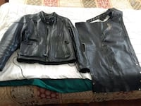 Women's black leather motorcycle jacket & chaps York, 17404