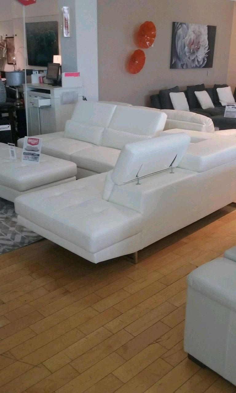 2 Pc White Leather Sectional Sofa W/ Large Ottoman