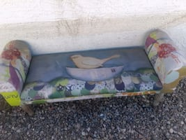 Colorful bird themed indoor or outdoor bench