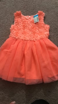 toddler's orange floral embellished sleeveless tulle dress