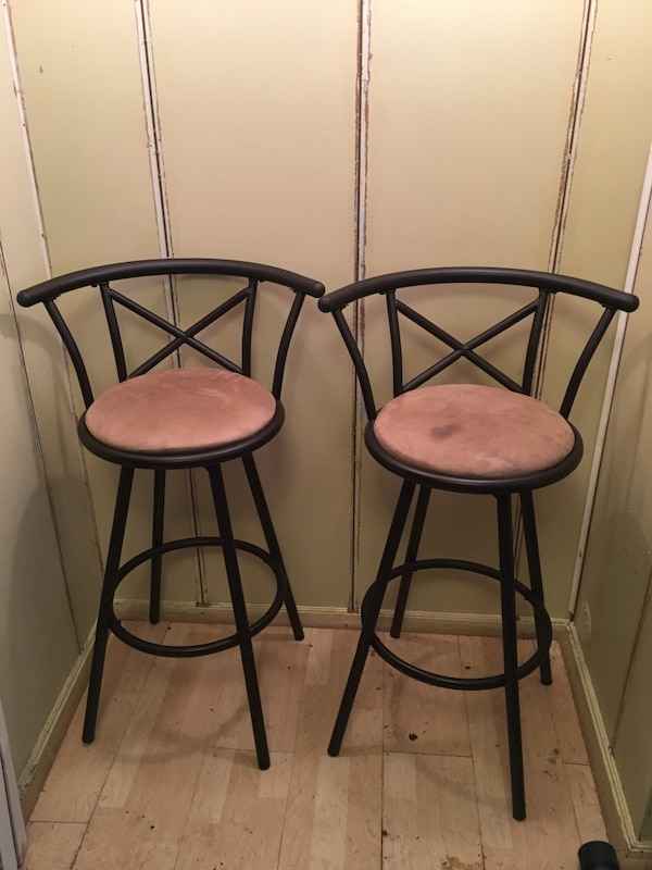 Sensational Pair Of Brown Suede Bar Stools Gmtry Best Dining Table And Chair Ideas Images Gmtryco